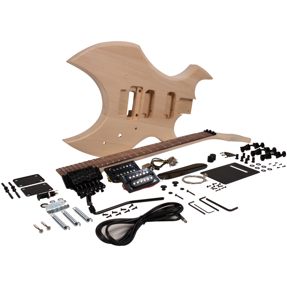 Seismic Audio Premium Warlock Style DIY Electric Guitar Kit - Unfinished Luthier Project Kit - SADIYG-16