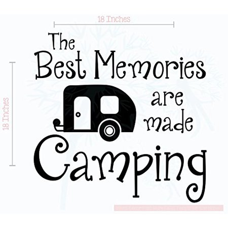 Best Memories Made Camping Vinyl Lettering RV Art Wall Sticker Decals Best Summer Family Quote 18x18-Inch Glossy