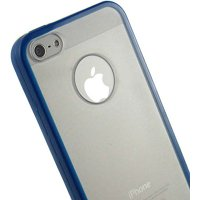 BLUE CLEAR TPU GUMMY SKIN PROZSKIN FLEXIBLE COVER CASE FOR APPLE iPHONE 5 5s