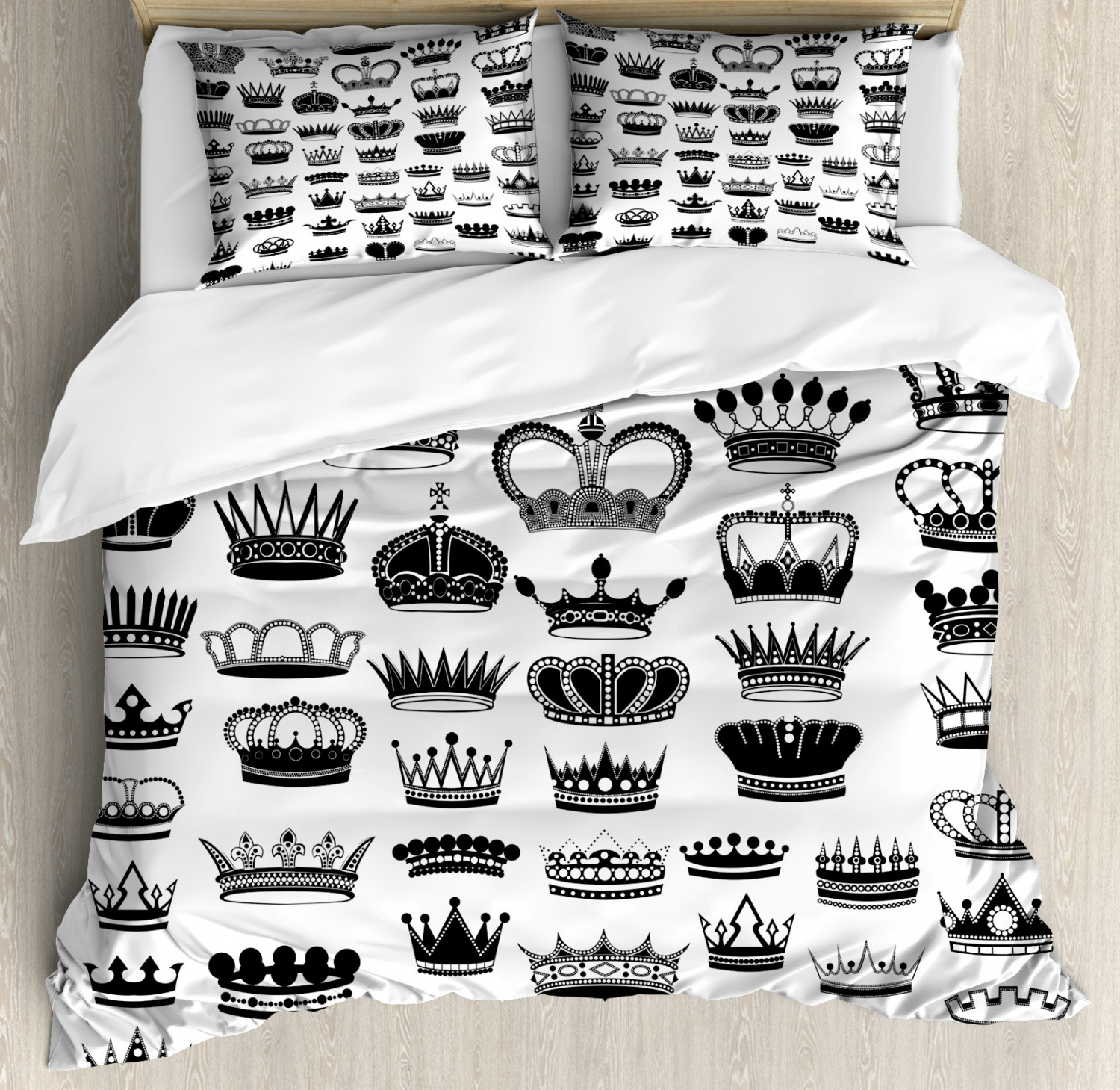 Queen Duvet Cover Set Big Silhouette Crown Set Monarchy Imperial Ruler Icons Antique Ancient Vintage Decorative Bedding Set With Pillow Shams Black And White By Ambesonne Walmart Com Walmart Com