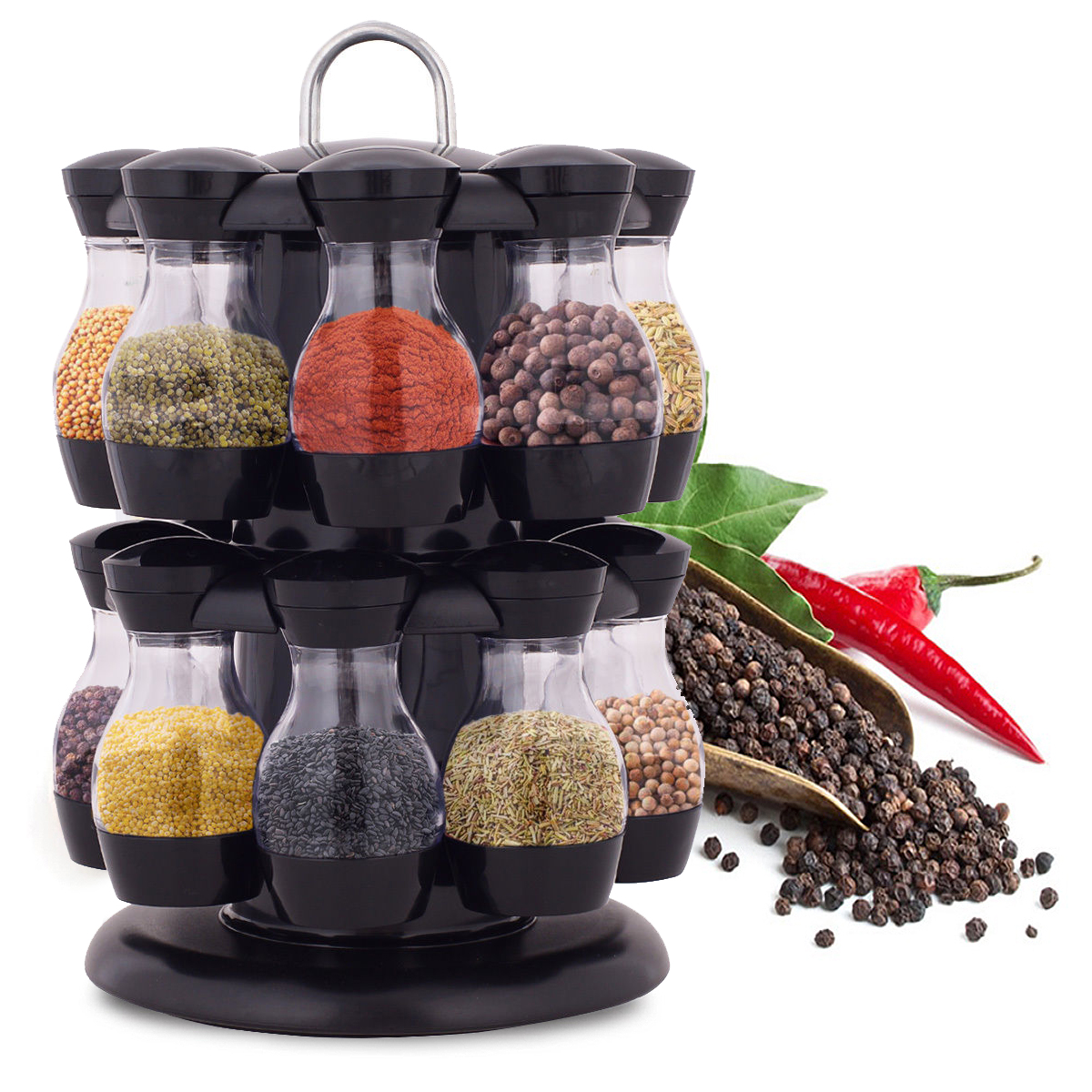 16 Jar Rotating Spice Rack Carousel Kitchen Storage Holder Condiments Container Transparent( body of jar) + Black - image 8 of 8