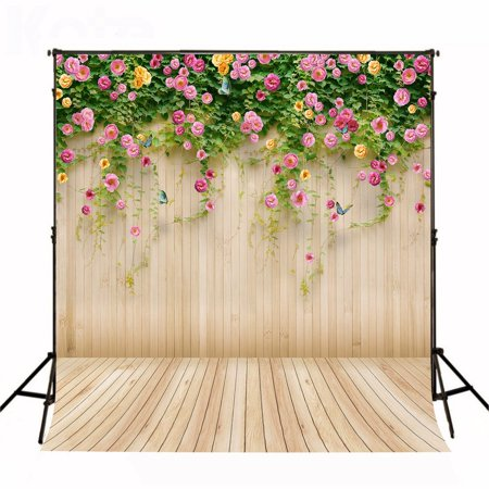 GreenDecor Polyster 5x7ft Flower Wall Photography Backdrop Wood Floor Photo Studio Background - Wall Backdrops