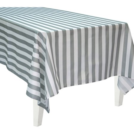 Table Striped (Bigbolo Gray and White Striped Rectangular Polyester)