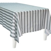 Bigbolo Gray and White Striped Rectangular Polyester Tablecover