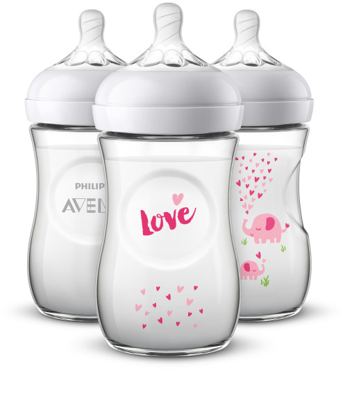 Philips Avent Natural Baby Bottle with Pink elephant design, 9oz, 3pk, SCF659 33 by Philips AVENT