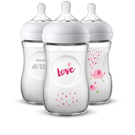 Philips Avent Natural Baby Bottle with Pink elephant design, 9oz, 3pk, (Blue Mini Baby Bottles)