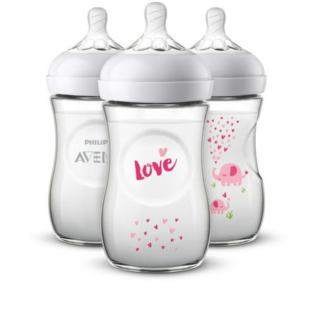 Avent Disposable Baby Bottle (Philips Avent Natural Baby Bottle with Pink elephant design, 9oz, 3pk, SCF659/33 )