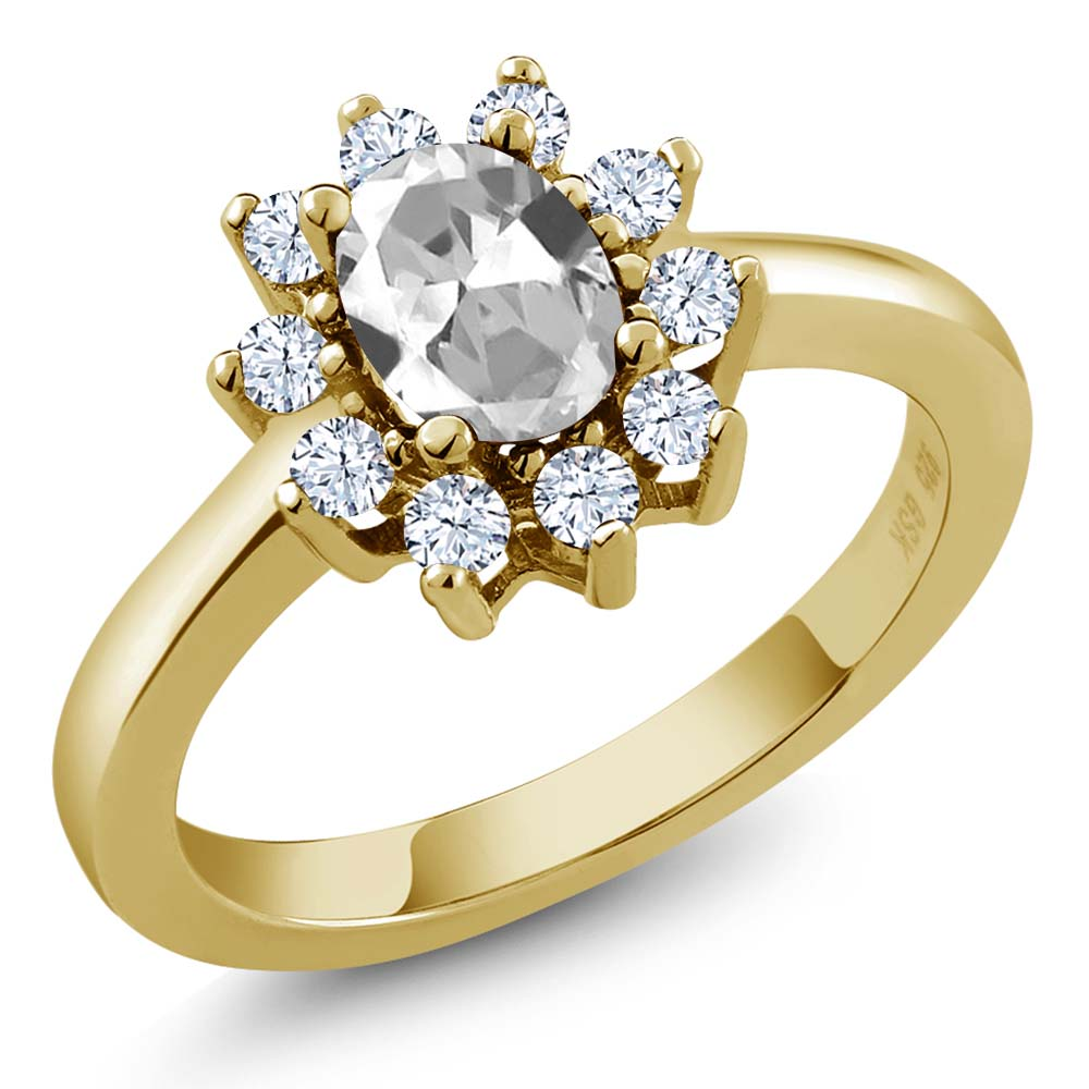 1.35 Ct Oval White Topaz Yellow Gold Plated Sterling Silver Ring