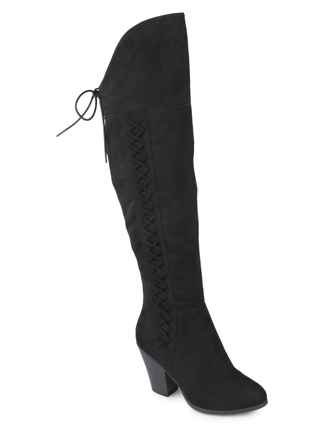 Womens Faux Suede Faux Lace-up Over-the-knee Boots