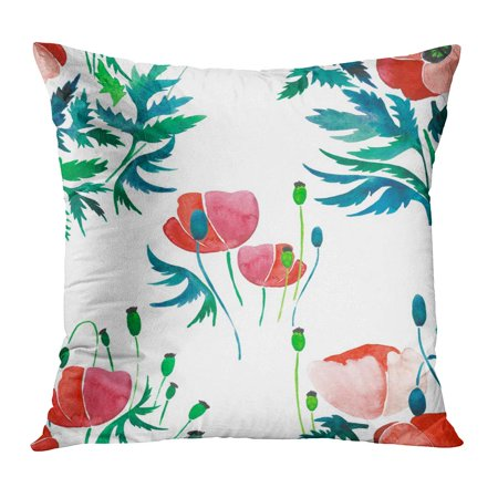 BOSDECO Pink Abstract Sophisticated Gorgeous Pattern of Red Poppies and Buds Green Leaves Watercolor Hand Sketch Pillowcase Pillow Cover Cushion Case 16x16 inch - image 1 of 1
