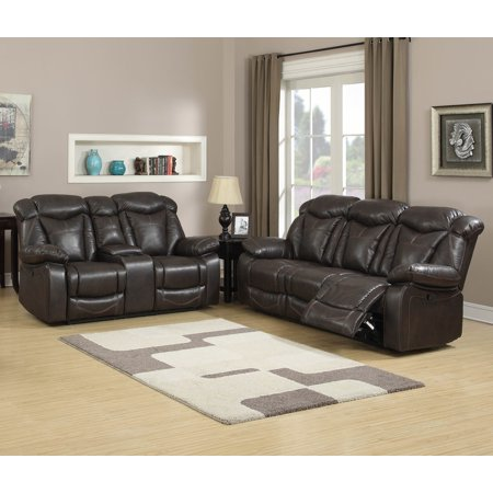 Hannah 2 Pc Dark Walnut Air Leather Living Room Reclining Sofa Set With Gliding Loveseat And
