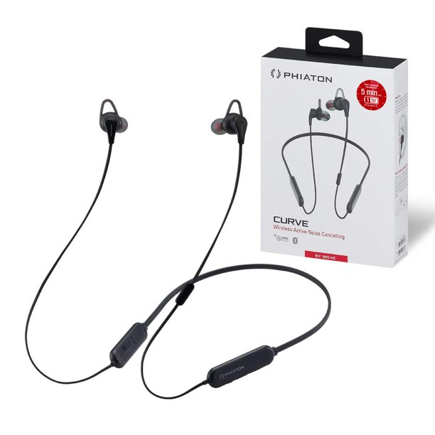 Phiaton BT 120 NC Black Sports Wireless Qualcomm Bluetooth Earbuds with Active Noise Cancellation