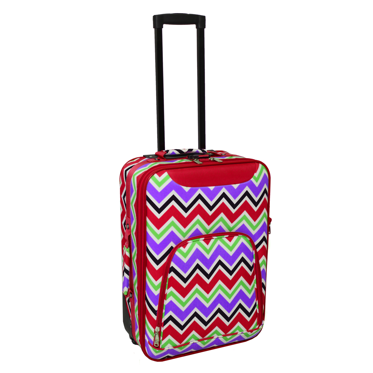 """All-Seasons Chevron Multi-Print 20"""" Rolling Carry-On Luggage Suitcase"""