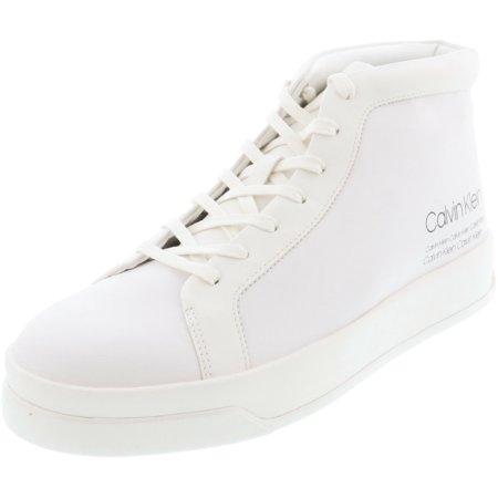 Calvin Klein Men's Fergusto Smooth Calf Leather White High-Top Sneaker - 9.5M