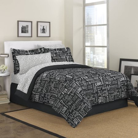 First at Home Live Love Laugh Bed-in-a-Bag Bedding Set, Black