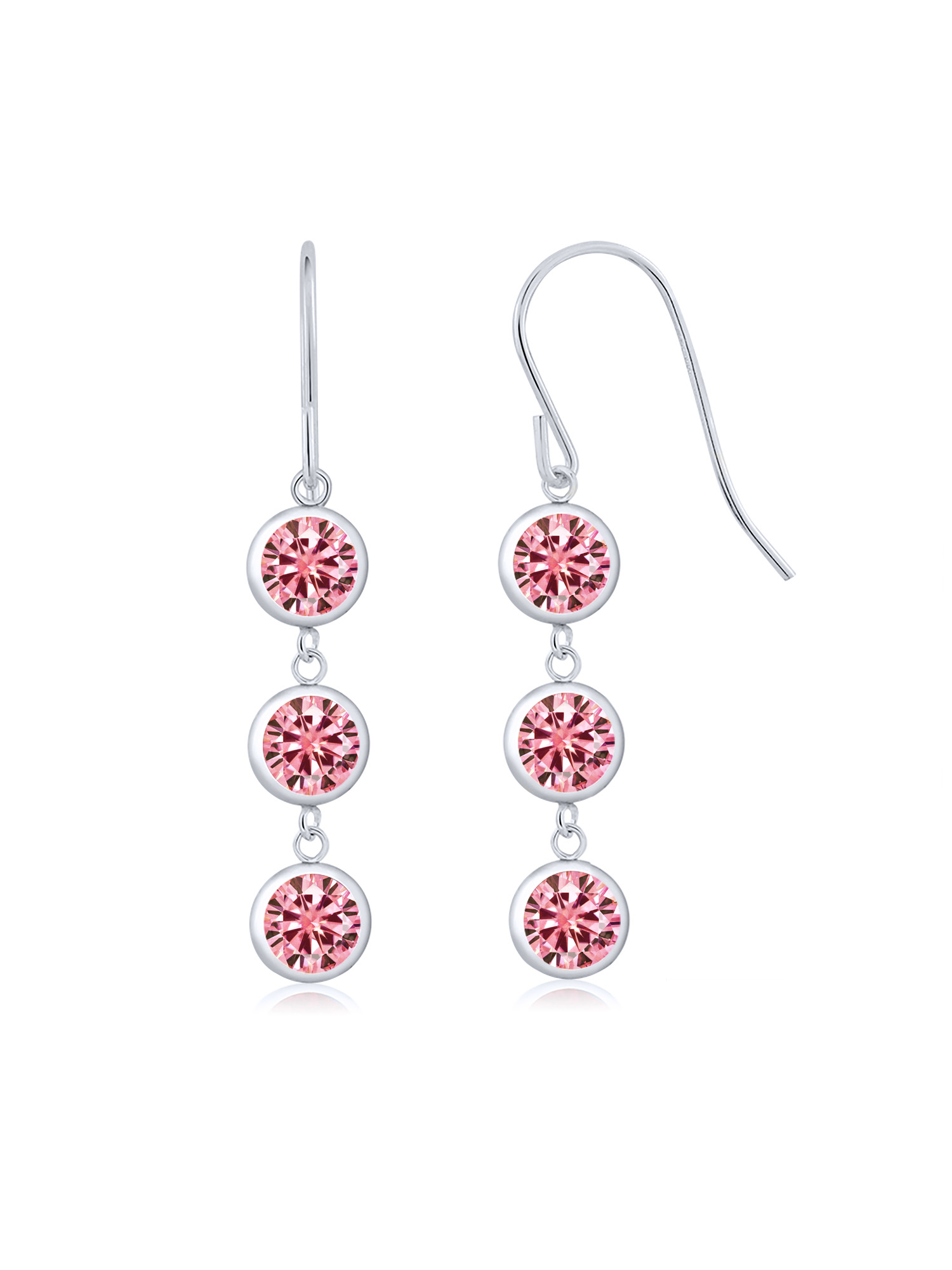 925 Silver Earrings Pink Created Moissanite Created Moissanite Pink 2.00ct DEW