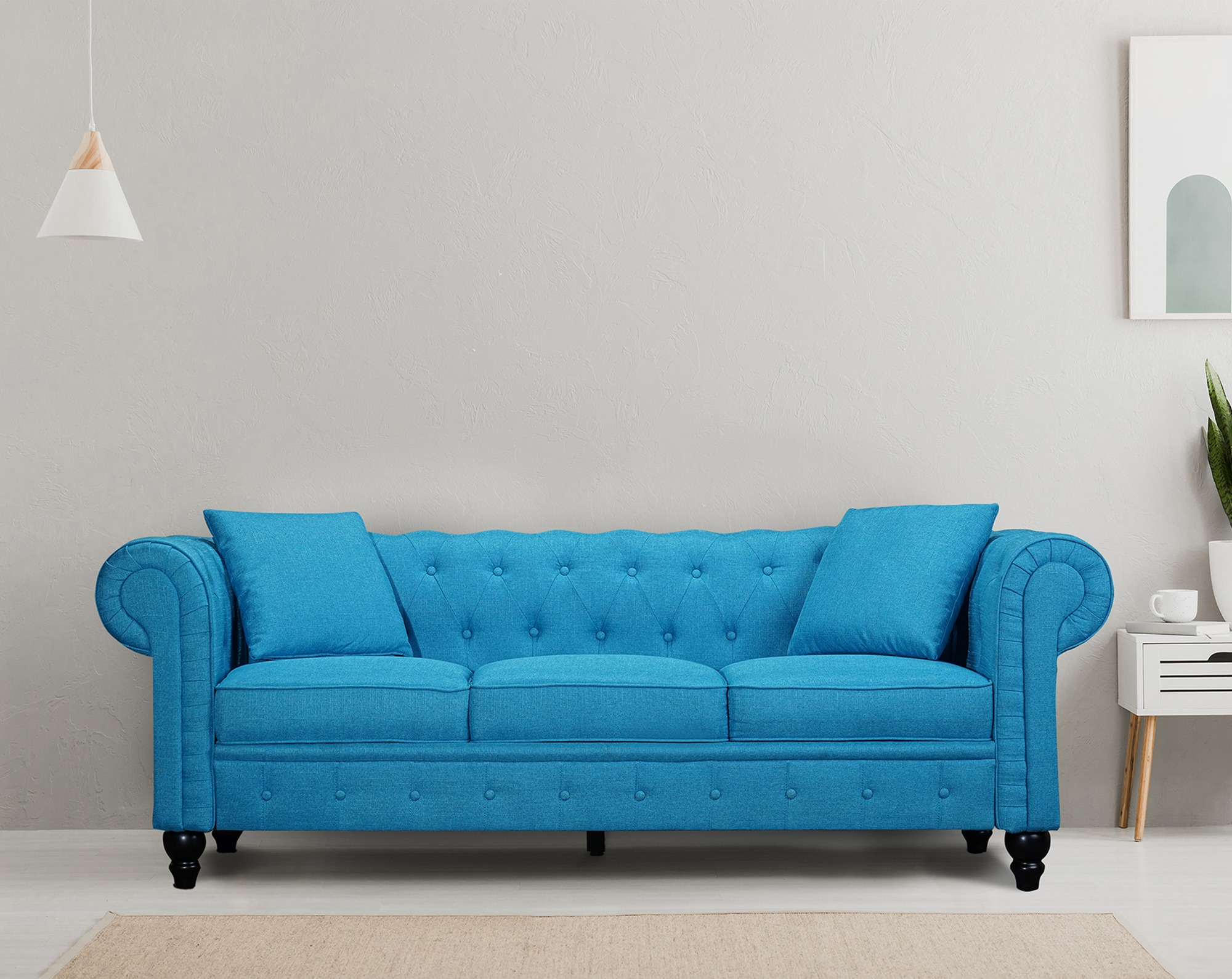 Valencia Sofas Abruzzo Tufted Chesterfield Sofa With 2 Decorative Pillows Aqua Blue Walmart Canada