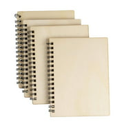 Wooden Hardcover Blank Book - 4-Pack Spiral Notebooks, Unruled Plain Wood Cover Travel Journals for Wedding Party Favor, DIY Keepsakes, Bridal Shower Gifts, 4.5 x 5.8 Inches