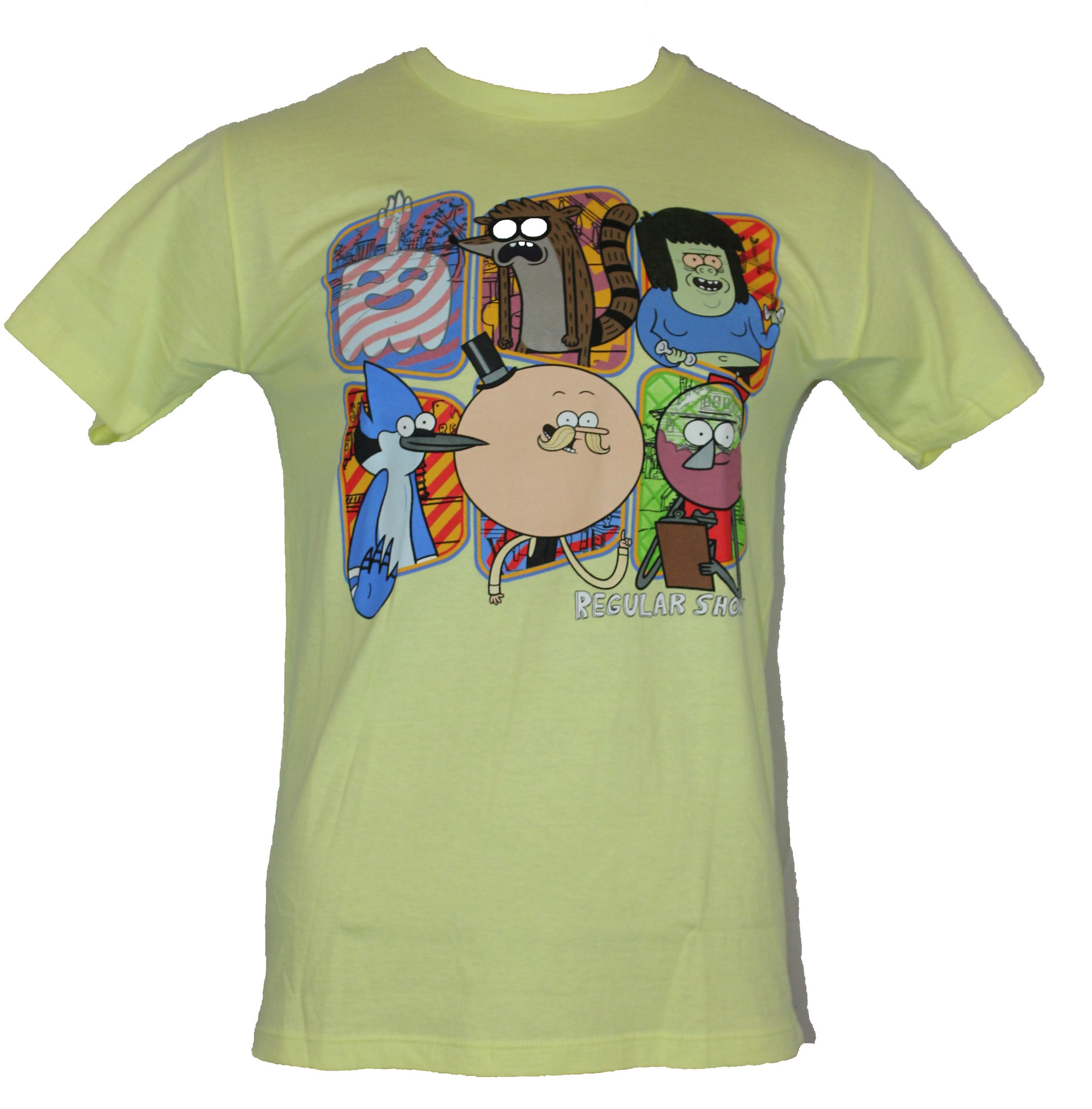 Regular Show Mens T-Shirt -  Main Cast Characters in Boxes Image