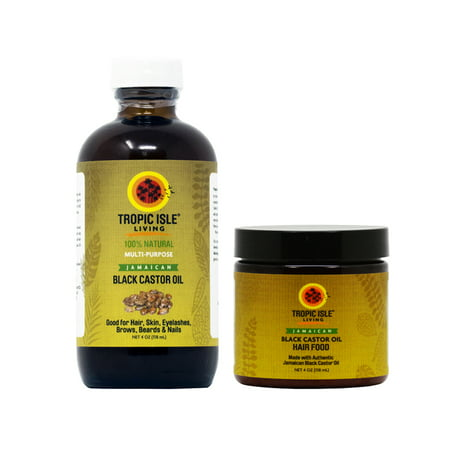 Tropic Isle Living Jamaican Black Castor Oil 4oz & Hair Food 4oz