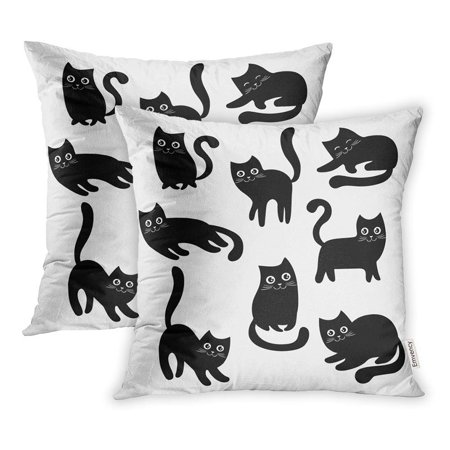 Halloween Pet Cartoons (ARHOME Black Cats Collection Cartoon Halloween Lovely Playing Kittens Pet The Pillowcase Cushion Cover 16x16 inch, Set of)