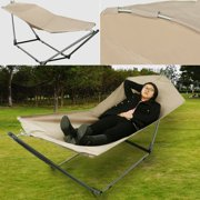 Ancheer Foldable Hammock With Stand Yard Garden Beach Adjustable Includes Carrying Bag