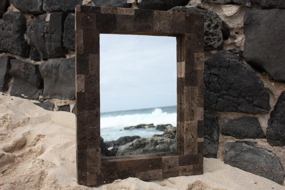 "Lava Rock Rectangular Mirror 24""x30"" Coastal Living by Tikimaster"