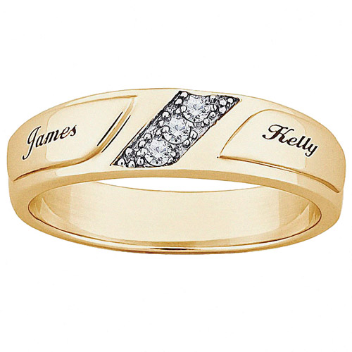 Personalized Womens CZ 10kt Gold Engraved Name Wedding Ring