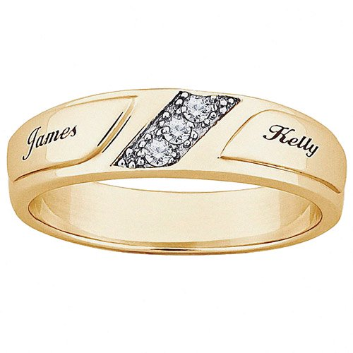 Personalized Planet Jewelry Women S Cz 10kt Gold Engraved Name Wedding Ring