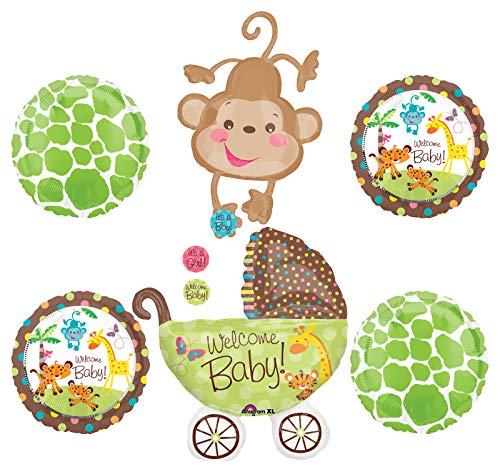Jungle Safari Welcome Baby Shower Party Supplies Buggy and Monkey Balloon Bouquet Decorations](Baby Shower Safari Decorations)