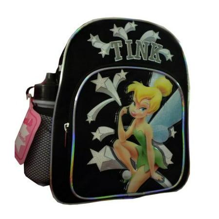 Disney Tinkerbell Backpack (Mini Backpack - Disney - Tinkerbell - w/ Water Bottle Black New)