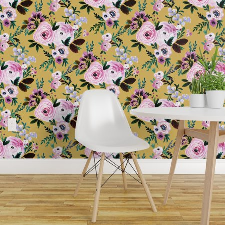 Peel and Stick Removable Wallpaper Roses On Mustard Flowers Floral Bot