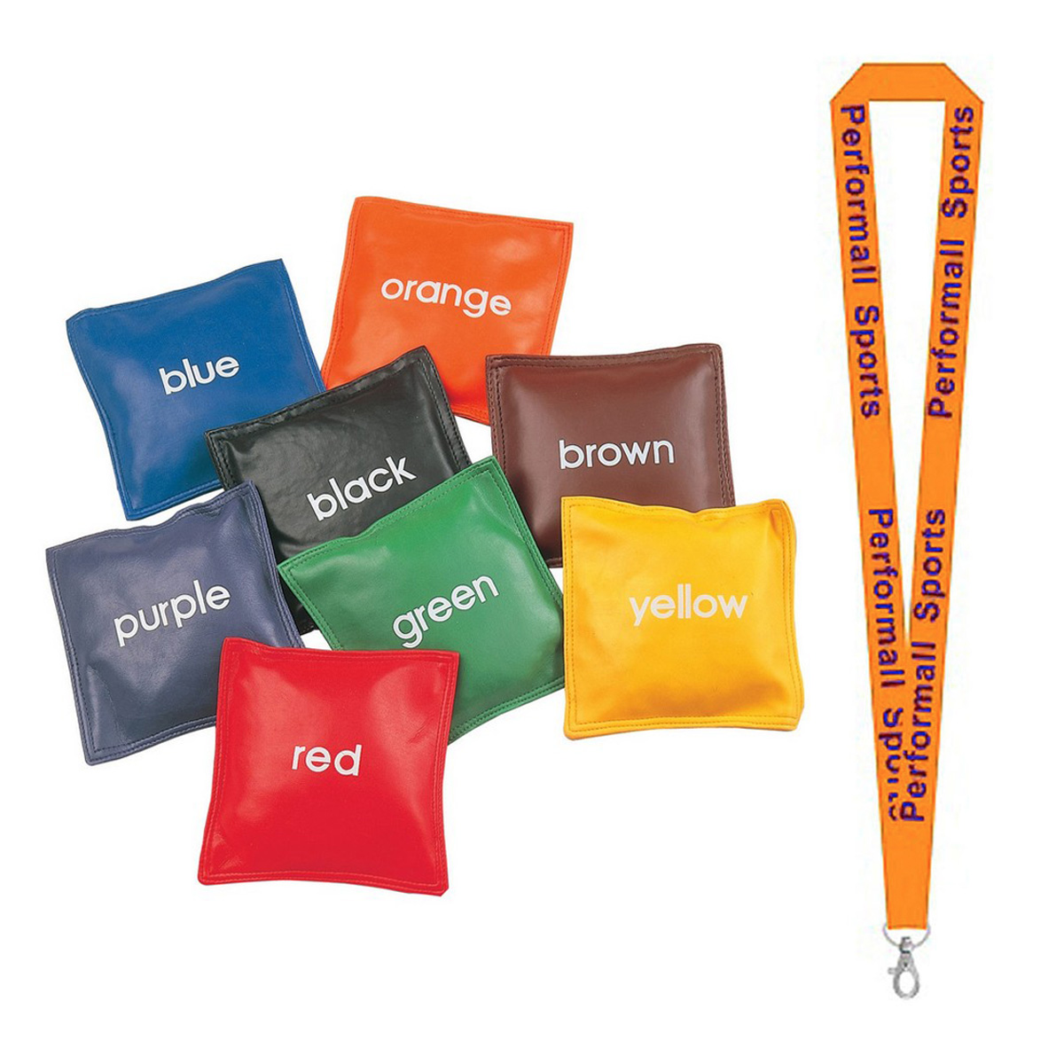 "Champion Sports Bundle: 5"" Colored Bean Bag Set Assorted   1 Performall Lanyard CB55-1P"