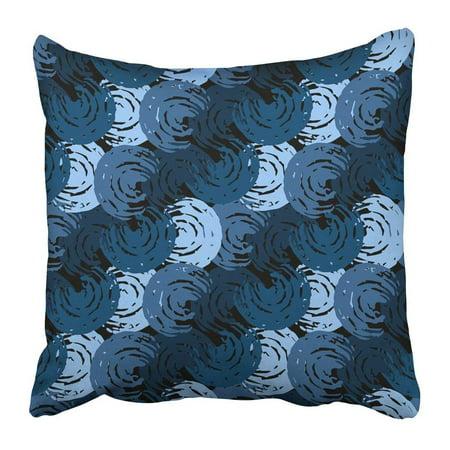 ARTJIA Blue Thai Abstract Distressed Swirl Shapes Brushstrokes Painting Navy Boho Brush Brushed Bue Carpet Pillowcase Pillow Cushion Cover 18x18 (Thailand Shape)