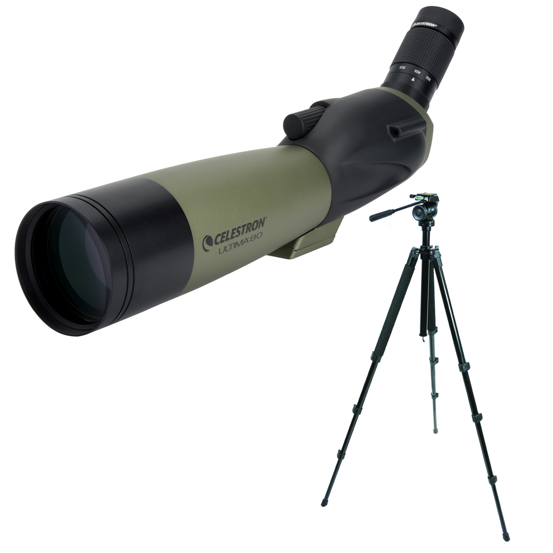 Celestron Ultima 80mm Spotting Scope (Angled Viewing) and TrailSeeker Tripod