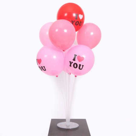 Balloon Stand Kit Clear Table Desktop Balloon Holder with 7 Balloon Sticks, 7 Balloon Cups and 1 Balloon Base for Birthdays Wedding Parties, Holidays, and Anniversary Decoratio