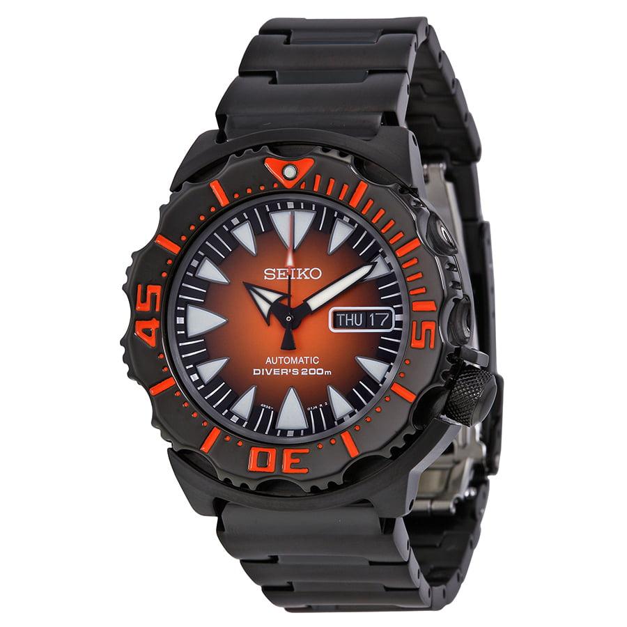 Seiko Divers Automatic Orange Sunburst Dial Mens Watch SR...