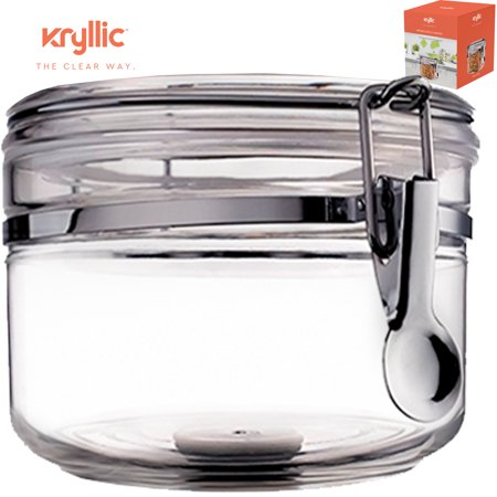 Food Canister Storage Container Organizer - 1 air tight size 28 oz acrylic plastic jar with lid to fulfill your pantry kitchen cabinet organization! Canisters & containers for candy sugar flour cereal (Acrylic Candy Jar)