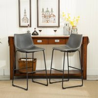 Roundhill Furniture Lotusville Vintage PU Leather Bar Stools, Antique Gray, Set of 2