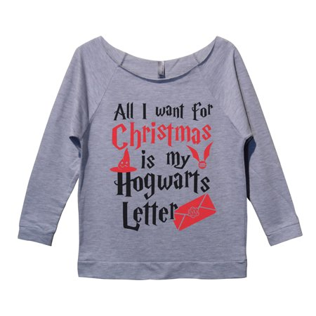 "58080606d1a Funny Threadz - Womens Christmas 3 4 Sleeve ""All I Want For Christmas Is My Hogwarts  Letter"" Harry Potter Sweater Large"