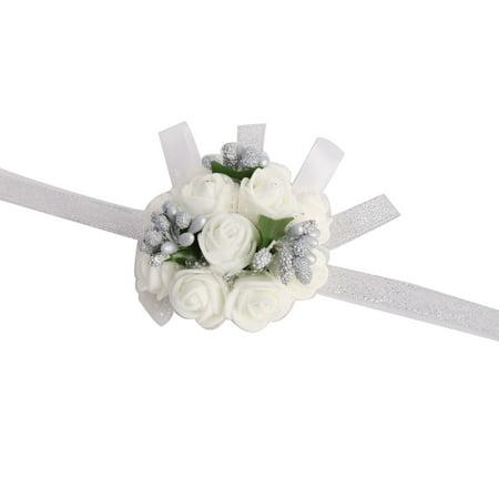 Unique Bargains Wedding Prom Party Foam Girl Bridesmaid Hand Decoration Silver Tone Wrist Flower](Unique Prom Ideas)