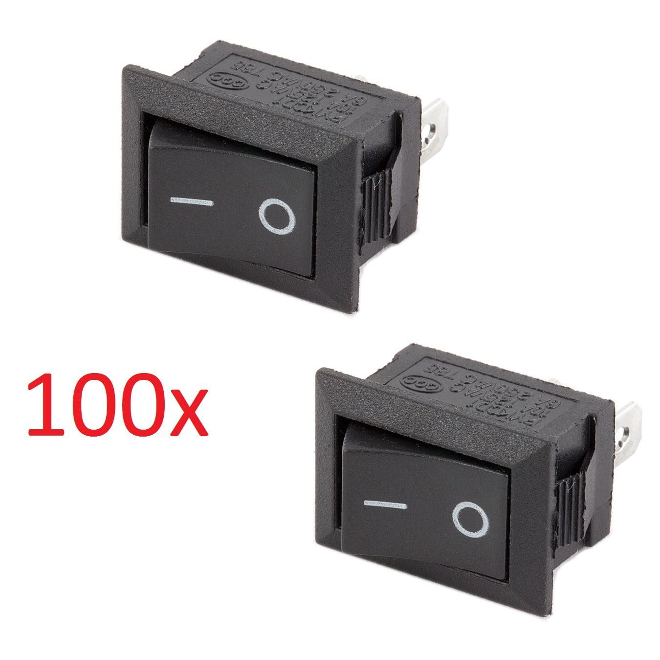 100x SPST On/Off Black Square I/O Rocker Mini 12V Switch for Automotive/Car/Boat