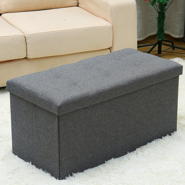 30 inches Storage Ottoman Bench, Foldable Footrest Shoe Bench with