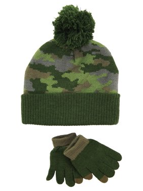 iXtreme Boys Winter Camo Hat with Touch Screen Gloves For Texting Set size 4-7 years