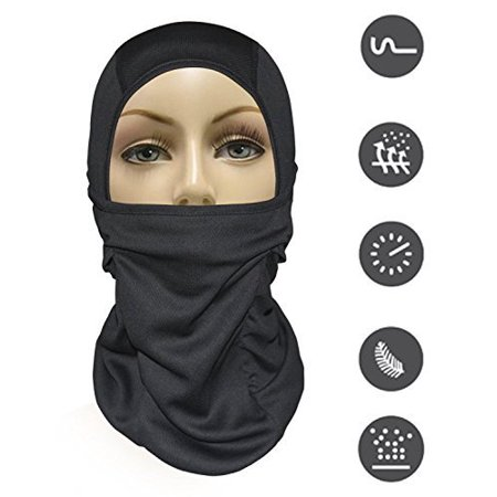 MJ Gear Balaclava Ski Mask [9in1] Full Face Mask Motorcycle Balaclava, Running Mask for Cold or Hot Weather Life Time