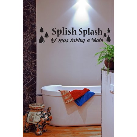splish splash i was taking a bath bathroom vinyl wall decal quotes wall stickers bathroom decals. Black Bedroom Furniture Sets. Home Design Ideas