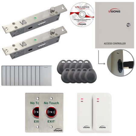 FPC-6502 Two Door Access Control Electric Drop Bolt Fail Secure Time Attendance TCP/IP RS485 Wiegand Controller Box With Power Supply, White Waterproof Card Reader, Software Included, 10000 Users Kit