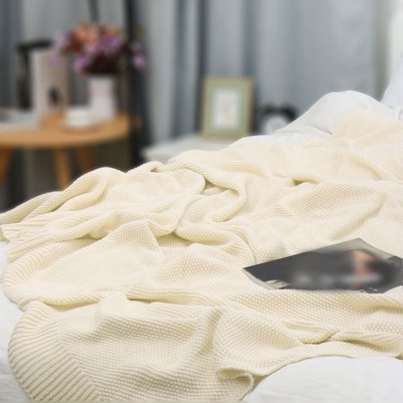"""knit blanket full size beige 70"""" x 78"""" - image 3 de 8"""