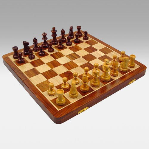 Polished Walnut Magnetic Folding Chess Set