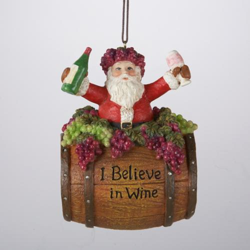 "12 Tuscan Winery Santa Claus in Wine Barrel ""I Believe"" Christmas Ornaments 4"""